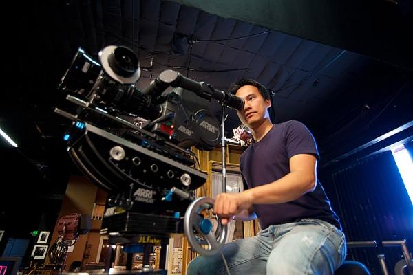 Huy Moeller operating an ARRI camera on gear head